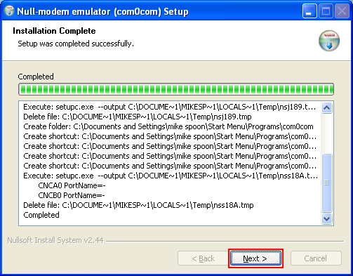 Installing virtual serial ports for ReactOS debugging on