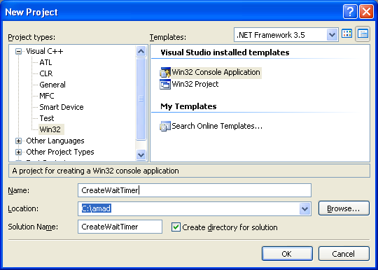 Using the Win32 Waitable Timer Objects Win32 and C program example