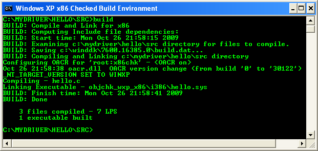 Using the WDK and building Windows driver from C code sample