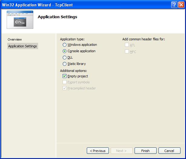 The Windows network client C program example